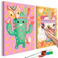 Tableau à peindre par soimême  Cactus et ours