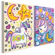 Tableau à peindre par soimême  Licornes (Bonjour et Bonne nuit)