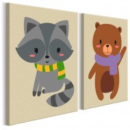 Tableau à peindre par soimême  Raton laveur et ours