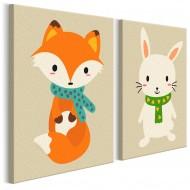Tableau à peindre par soimême  Renard et lapin