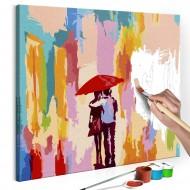 Tableau à peindre par soimême  Couple sous un parapluie (fond rose)
