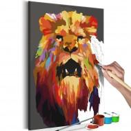 Tableau à peindre par soimême  Lion coloré