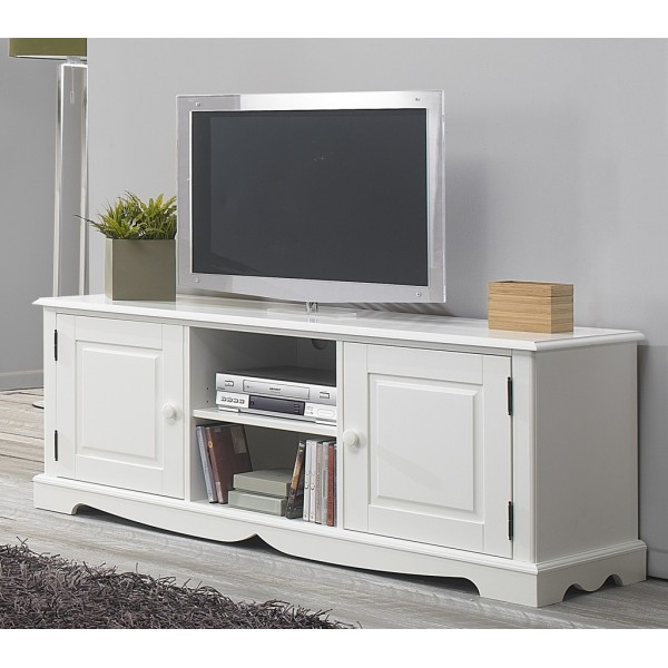 Meuble tv hifi blanc charme de style anglais beaux for Meuble tele but blanc