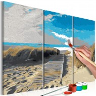 Tableau à peindre par soimême  Plage (ciel bleu)