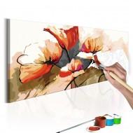 Tableau à peindre par soimême  Fleurs  coquelicots délicats