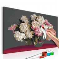 Tableau à peindre par soimême  Fleurs blanches dans un vase