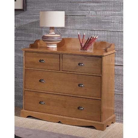 Commode 4 tiroirs + crédence style anglais pin miel 38104