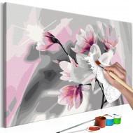 Tableau à peindre par soimême  Magnolia (fond gris)