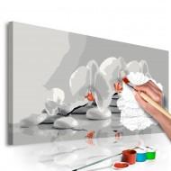 Tableau à peindre par soimême  Orchidée (blanc et gris)