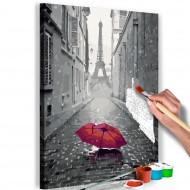 Tableau à peindre par soimême  Paris (Parapluie rouge)