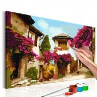 Tableau à peindre par soimême  Village méditerranéen