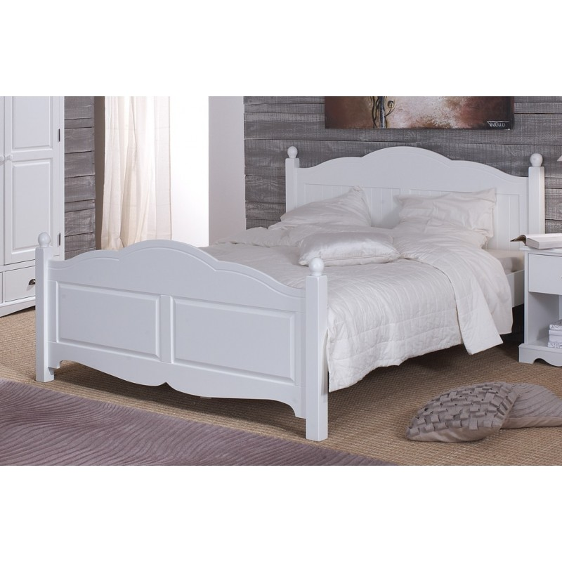 lit blanc 2 places 140 x 190 de style anglais beaux meubles pas chers. Black Bedroom Furniture Sets. Home Design Ideas
