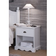 Chevet 1 tiroir 1 niche style anglais blanc 40101