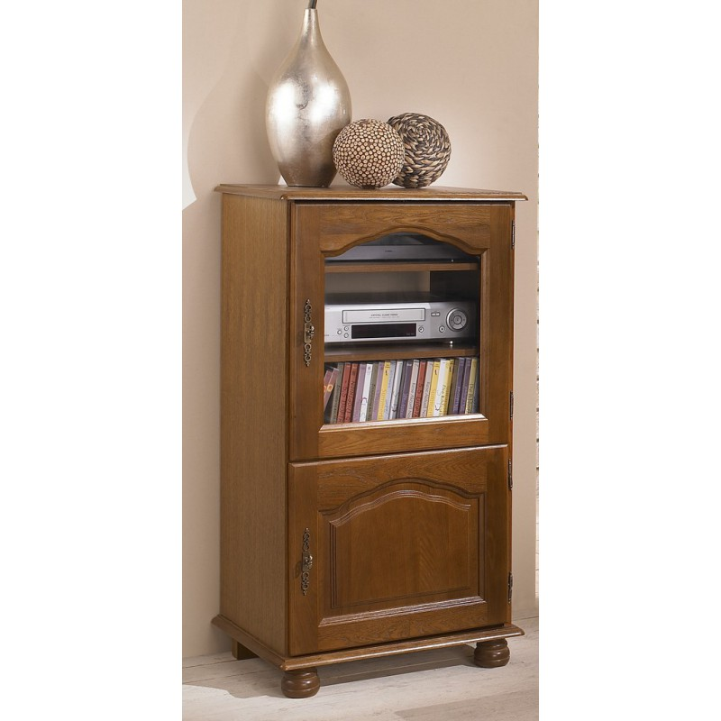 meuble rack hifi chene rustique dessus relevable 2 portes. Black Bedroom Furniture Sets. Home Design Ideas