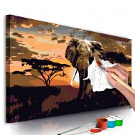 Tableau à peindre par soimême  Éléphant en Afrique (nuances de brun)