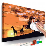 Tableau à peindre par soimême  Savanne (girafes et éléphantes)