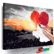 Tableau à peindre par soimême  Arbre en forme de coeur (lever de soleil)