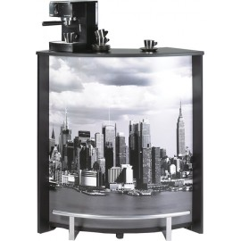 Meuble Comptoir Bar Noir Imprimé 96 cm