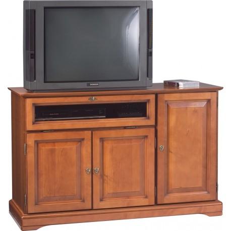 Meuble TV HIFI grand écran 3 portes Louis Philippe 6712V