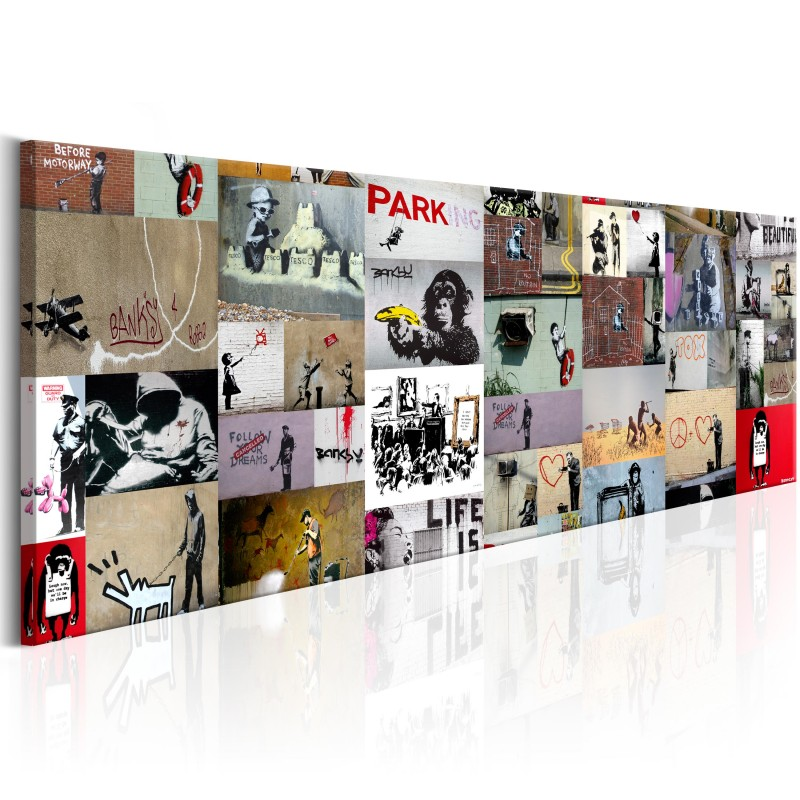 tableau art of collage banksy ii beaux meubles pas chers. Black Bedroom Furniture Sets. Home Design Ideas