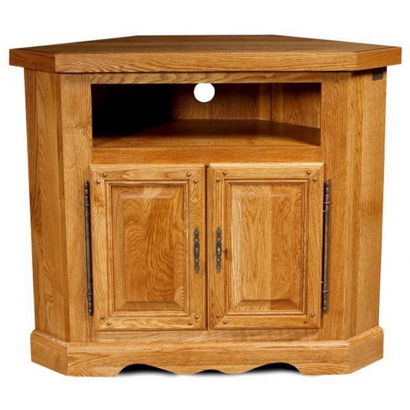 Meuble tv d 39 angle 2 portes ch ne moyen beaux meubles pas chers - Meuble tv angle chene ...