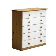 Commode Verona  4 + 2 Pin Miel + Blanc