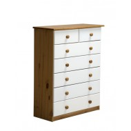 Commode Verona  5 + 2 Tiroirs Pin Miel + Blanc