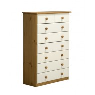 Commode Verona  6 + 2 Tiroirs Pin Miel + Blanc