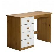 Bureau Verona Pin Miel + 4 tiroirs Blanc
