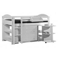 Lit Mi-Haut + Bureau + Commode + Etagere 90 x 190 cm Maximus Lasuré Blanc