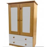 Meuble de Rangement 2 portes 2 tiroirs pin + blanc
