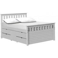 Lit 4 tiroirs + 1 coffre Ferrara 140 x 190 cm Lasuré Blanc