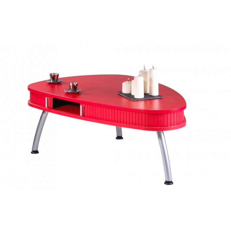 Table basse ovale blanc laque maison design - Table basse rouge laque ...