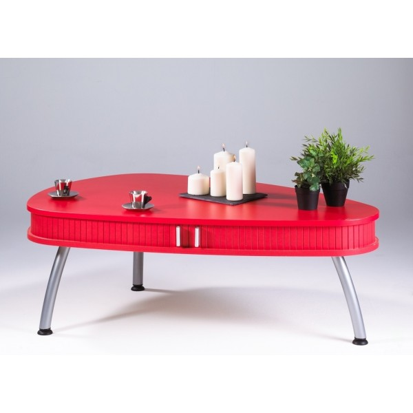 Table basse ovale rouge - Table basse rouge laque ...