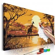 Tableau à peindre par soimême  Giraffe at Sunset