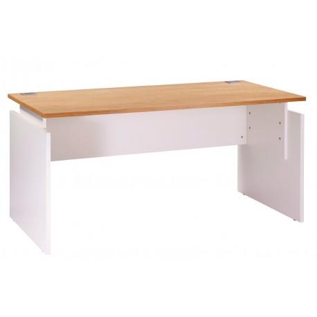 Bureau ineo 160 x 80 cm blanc ch ne clair r glable en for Meuble bureau 80 cm