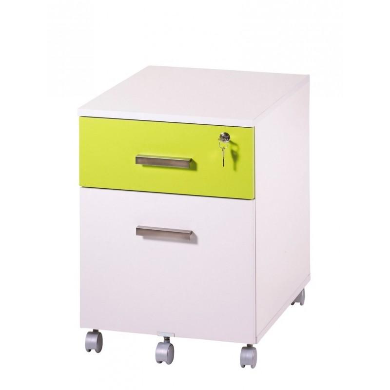 caisson de bureau 2 tiroirs ineo blanc anis avec plumier. Black Bedroom Furniture Sets. Home Design Ideas