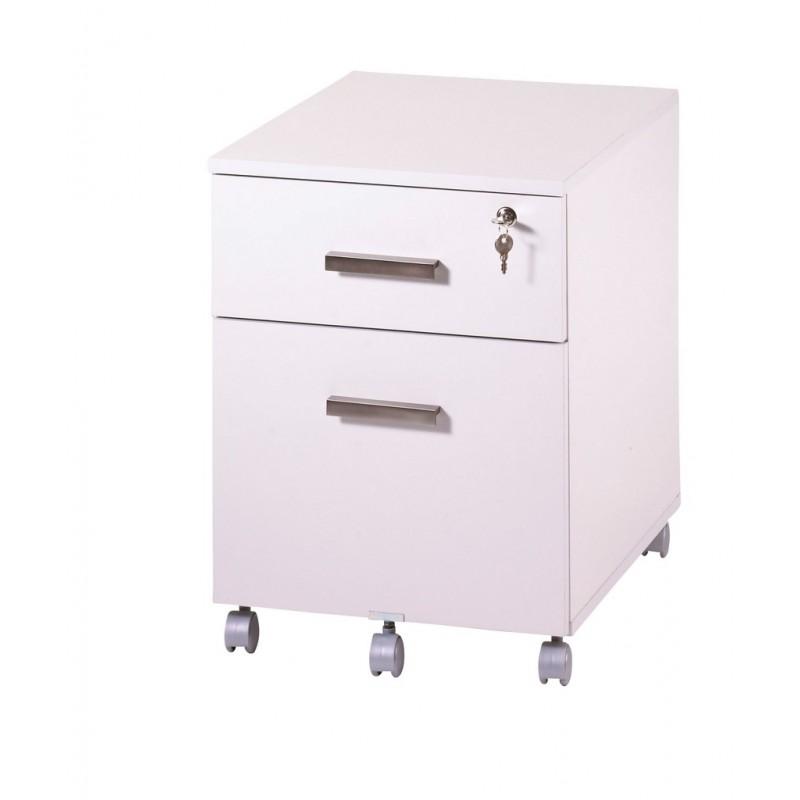 Caisson de bureau 2 tiroirs ineo blanc avec plumier - Bureau blanc avec tiroir ...