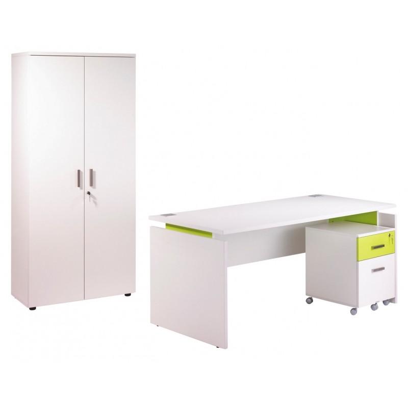 Pack bureau 160 caisson 2 tiroirs armoire blanc anis for Armoire bureau blanc