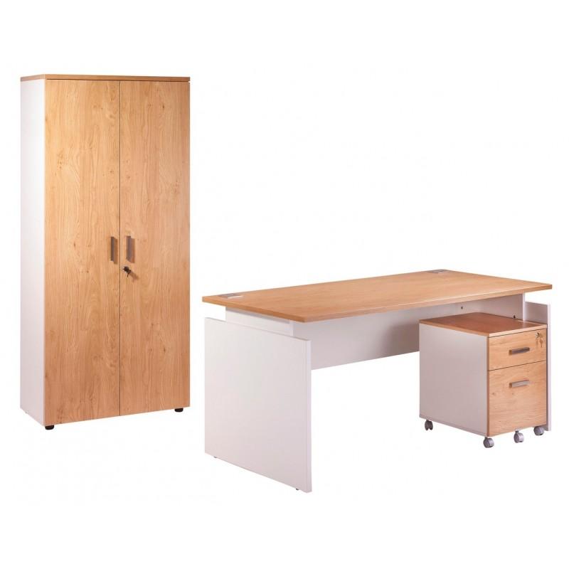 Pack bureau 160 caisson 2 tiroirs armoire blanc ch ne for Meuble bureau 160