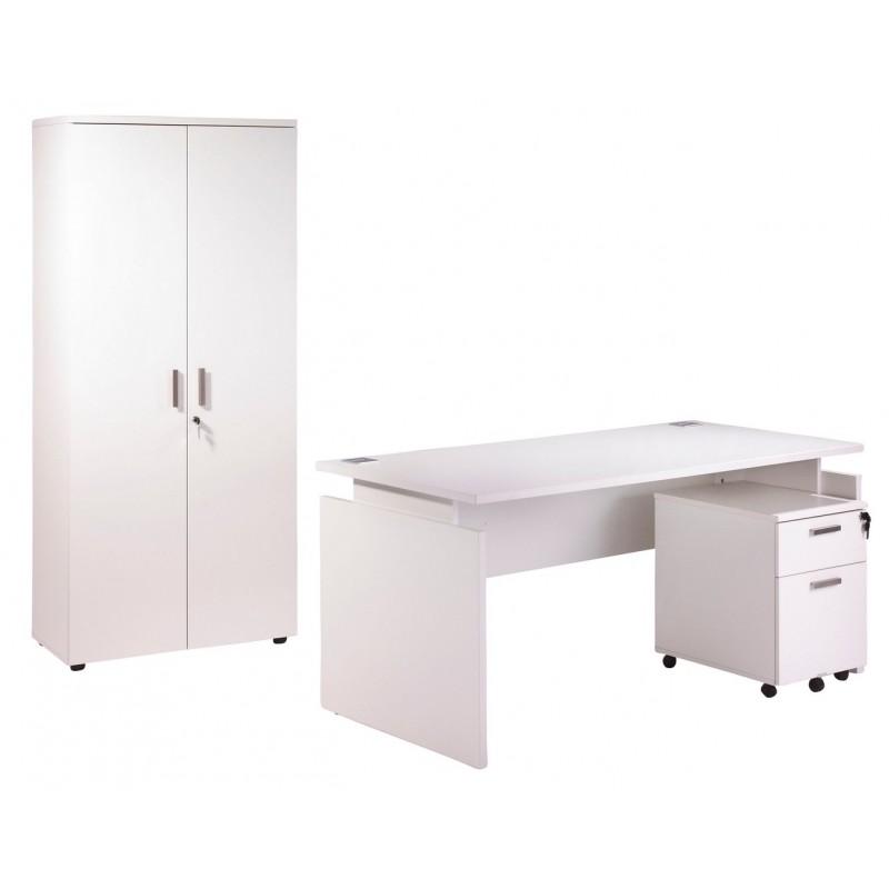 Pack bureau 160 caisson 2 tiroirs armoire blanc ineo for Meuble bureau 160