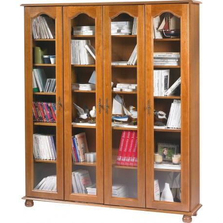 grande biblioth que ch ne 4 portes vitr es beaux meubles pas chers. Black Bedroom Furniture Sets. Home Design Ideas