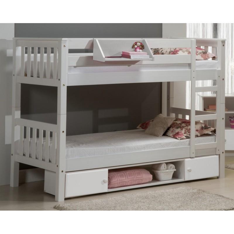 Lit superpos barcelona rangements blanc beaux meubles pas chers - Lit superpose rangement ...
