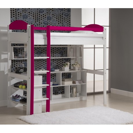 Lit Mezzanine Maximus + bibus + étagère + rangement 5 cases blanc et prune