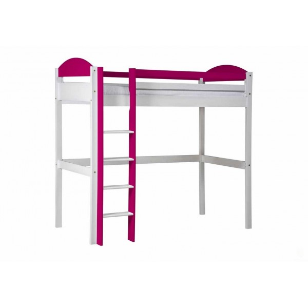 Lit mezzanine maximus rangement blanc et prune beaux meubles pas chers - Lit mezzanine rangement ...