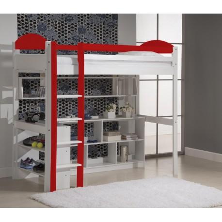 Lit Mezzanine Maximus + bibus + étagère + rangement 5 cases blanc et rouge