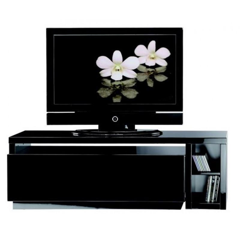 Meuble tv noir modulable beaux meubles pas chers for Meuble tv pas large