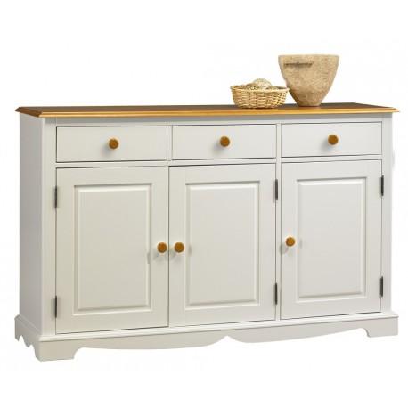 Buffet blanc et miel 3 portes 3 tiroirs beaux meubles for Meuble bas salon pas cher
