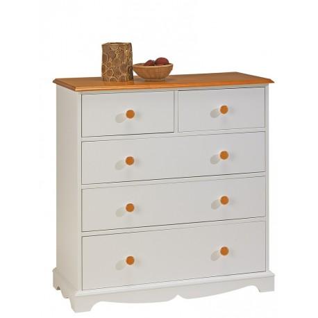 Commode blanche et miel 5 tiroirs beaux meubles pas chers - Commode blanche pas chere ...