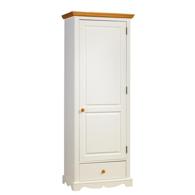 Bonneti re blanche et miel 1 porte 1 tiroir beaux meubles pas chers - Armoire blanche 1 porte ...